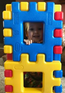 Aidan in the waffle blocks
