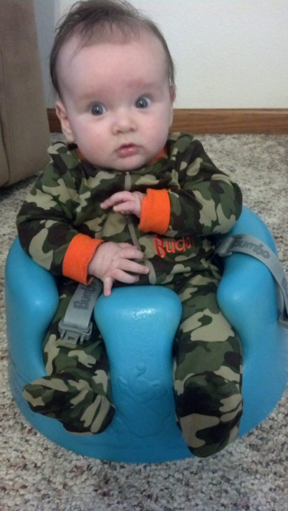 Aidan in the Bumbo