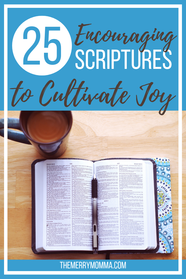 Motherhood (and life!) can be tough, and it's easy to let joy slip through our fingers. Here are 25 Scriptures to help you get it back!
