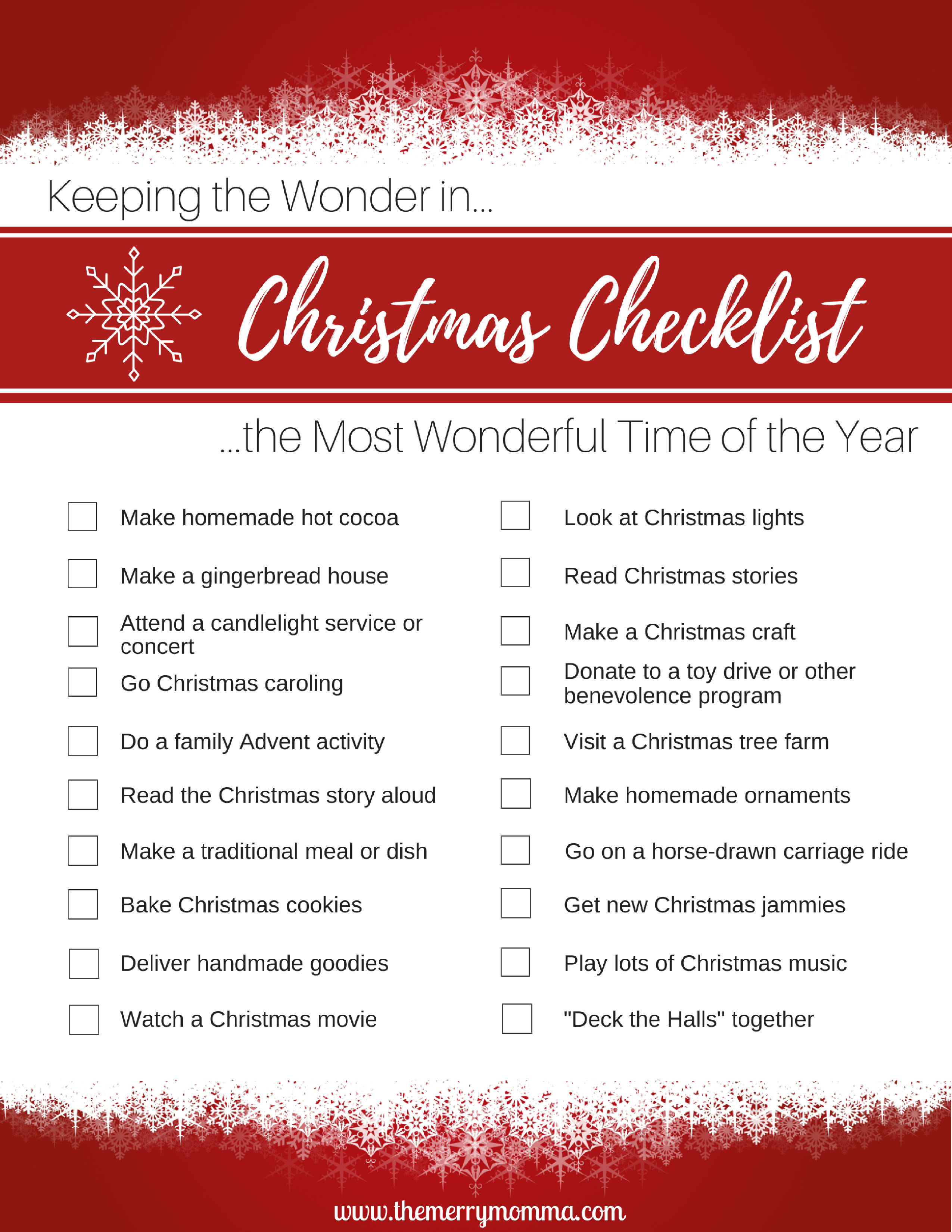Christmas Activity Checklist