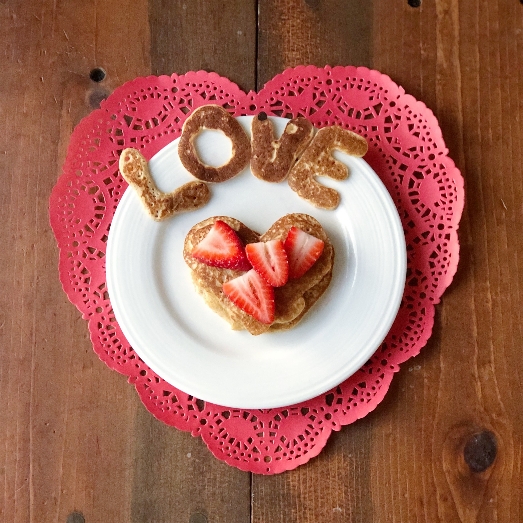 Heart-Shaped Pancakes for Valentine's Day