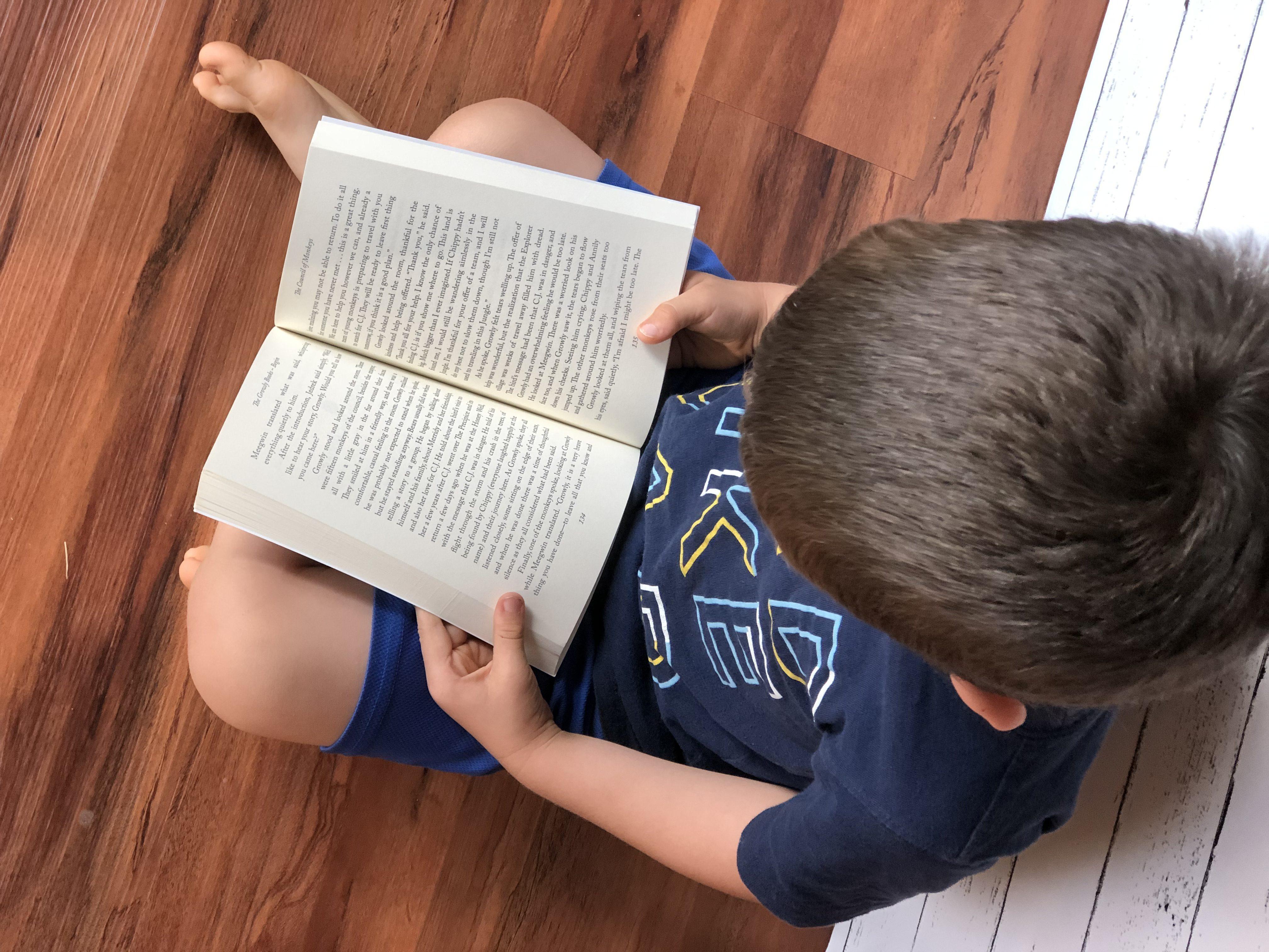 Aidan Reading Growly Bear book