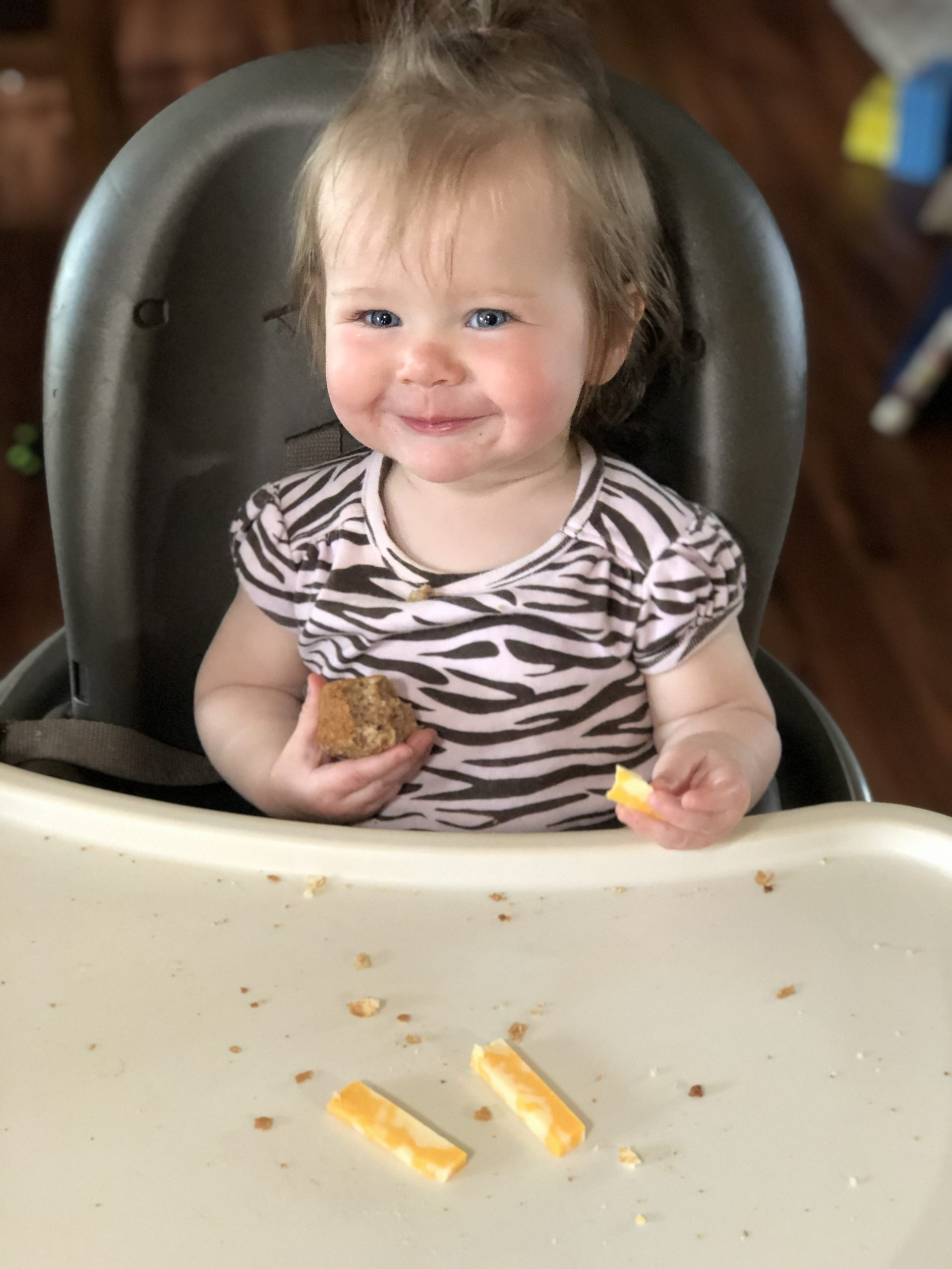 Baby led weaning muffin and cheese
