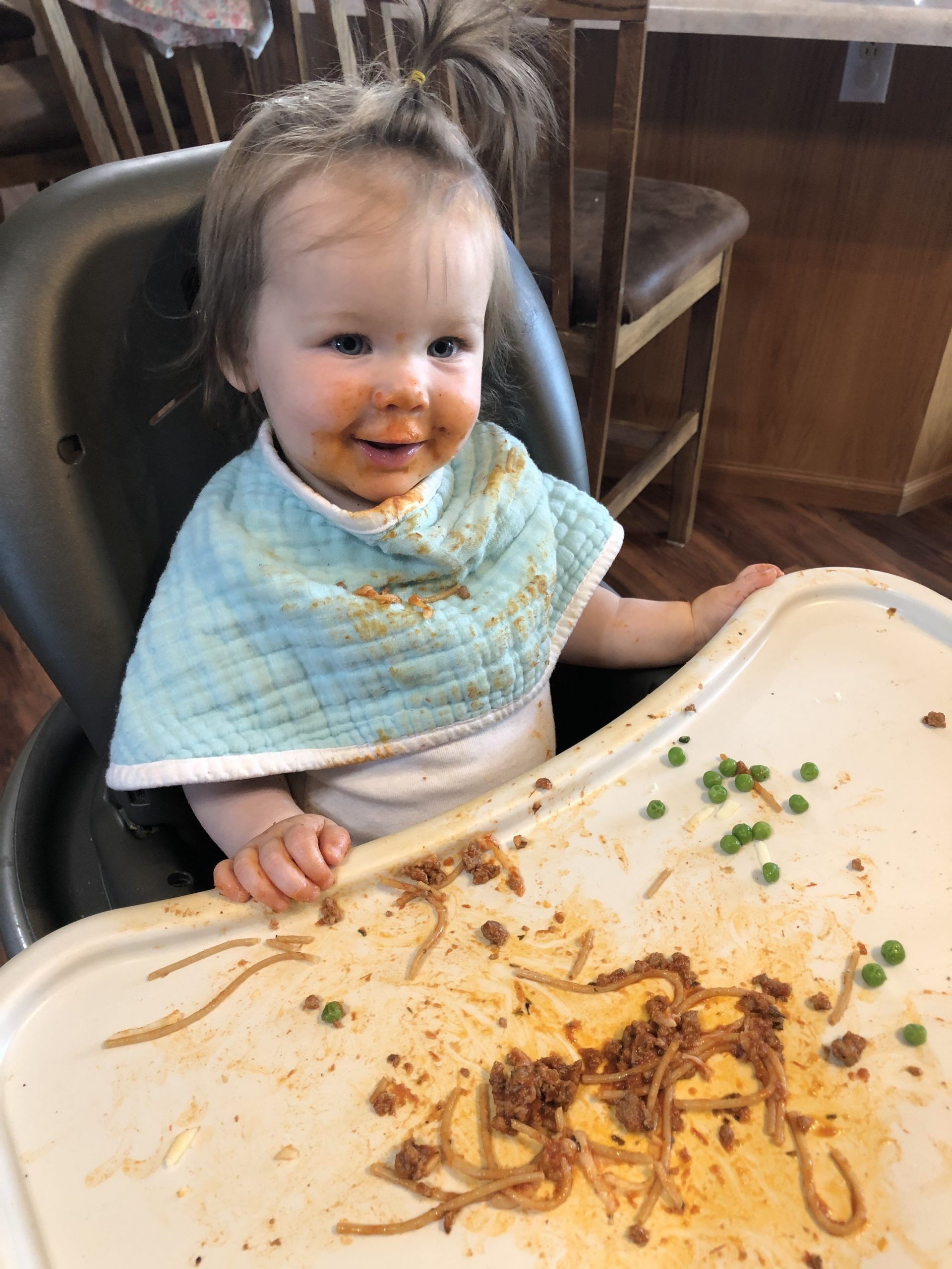 Baby led weaning eating spaghetti