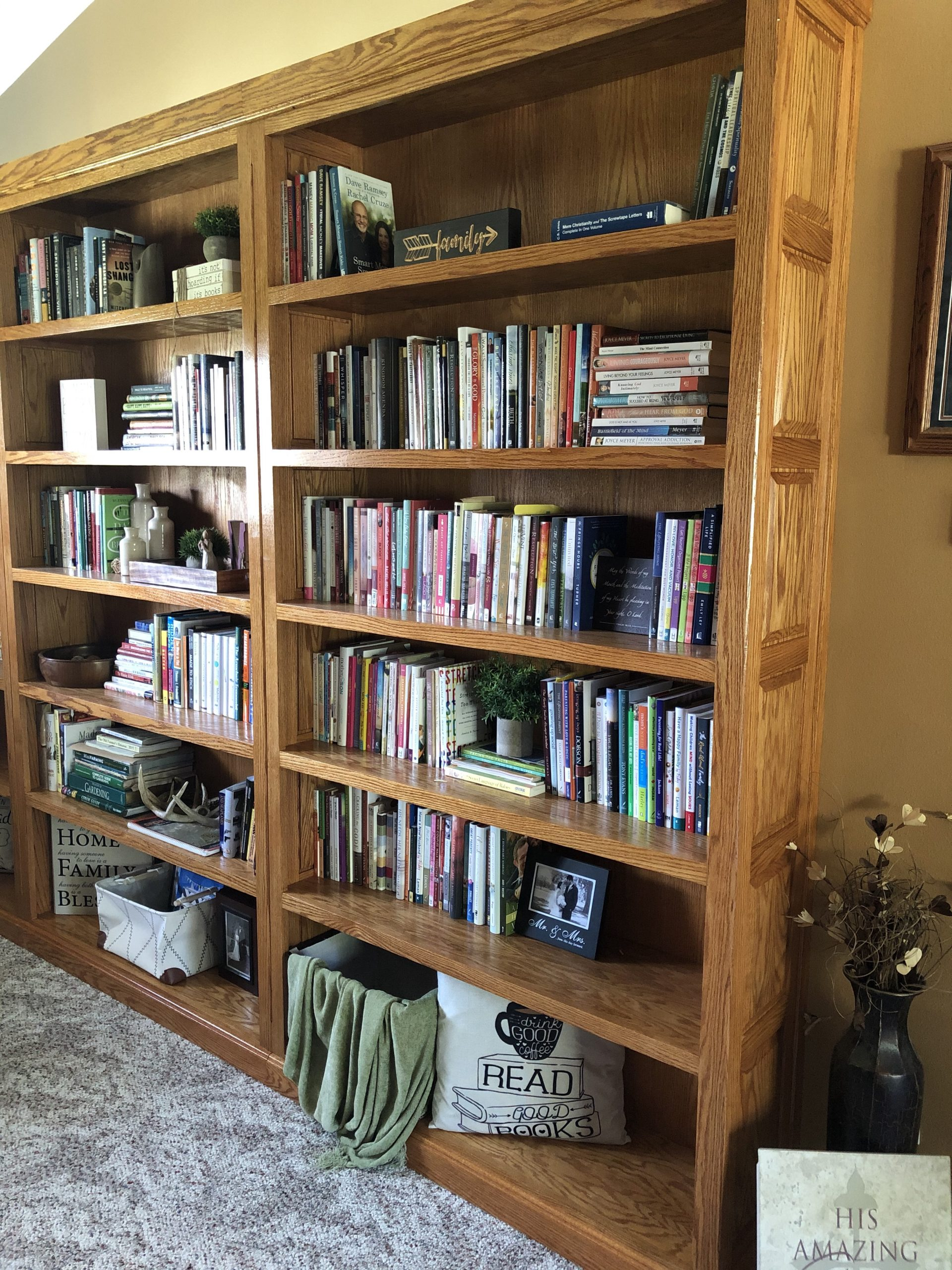 Near bookcase -- Christian nonfiction
