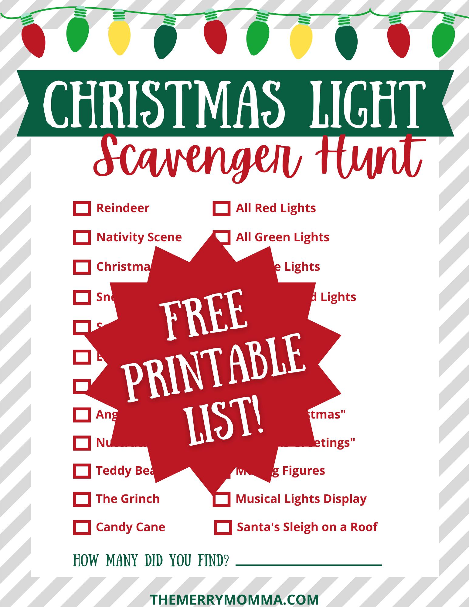 Christmas Light Scavenger Hunt PDF