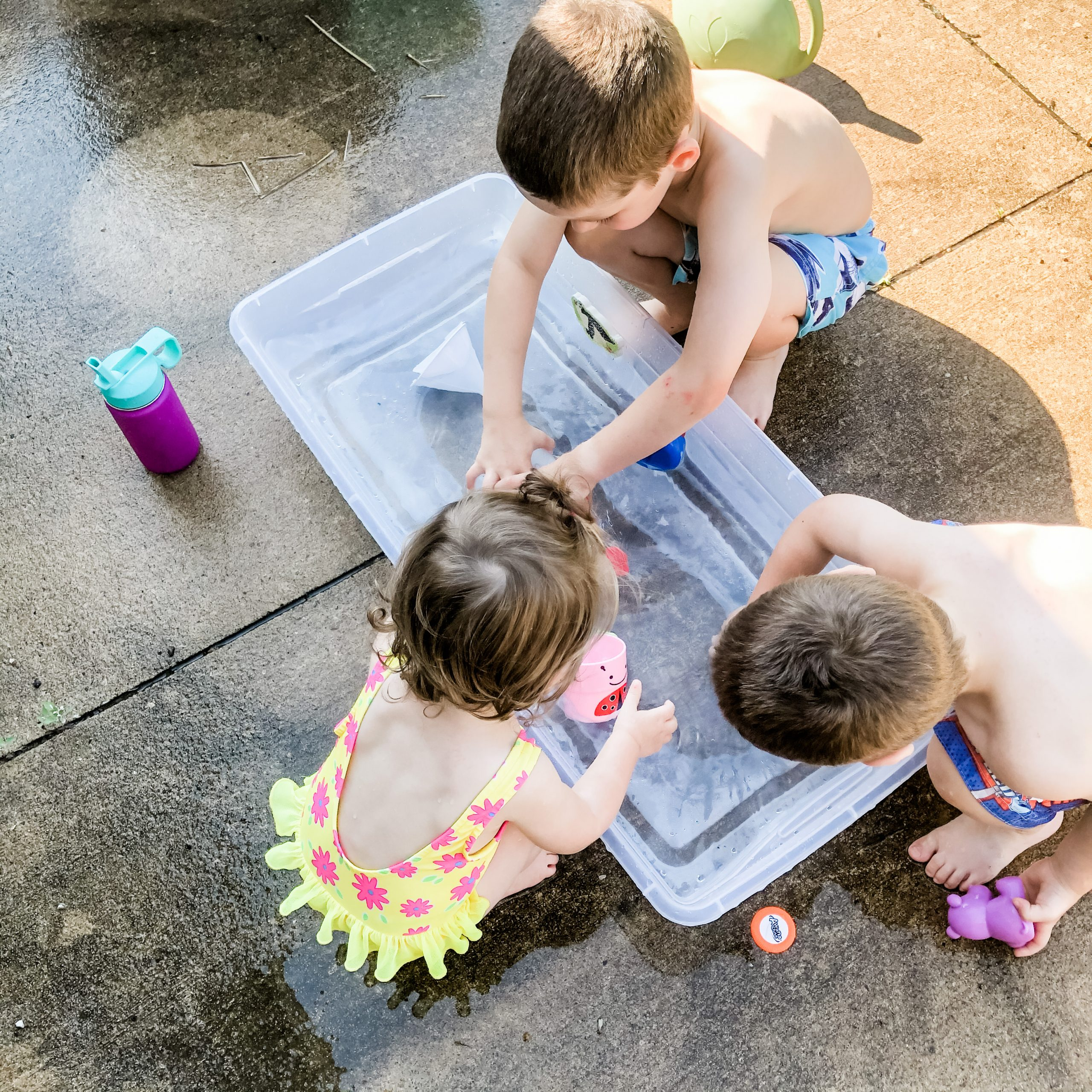 My kids playing at our DIY water table