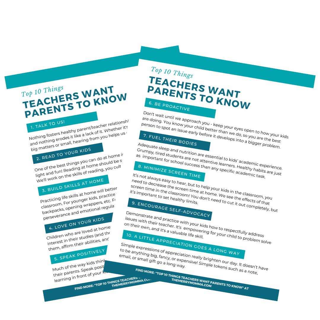 Top 10 Things Teachers Want Parents to Know PDF